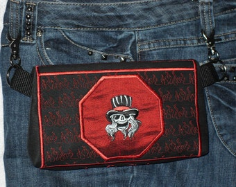 "Hands-Free Bag Hip Pouch Embroidered  Belt Bag ""I'll Stop When I'm Dead"" Skull Black & Red  Bikers Hikers Tourist Rider Sturgis Bike Rally"