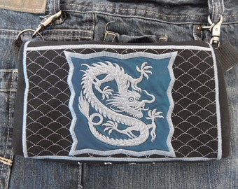 "Hands Free Bag Hip Pouch Embroidered  Belt Bag ""The Dragon"" Concert Gear Bikers Hikers Tourist Rider  Blue and Silver"