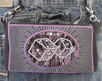 "OOAK Hip Bag Hands Free Bag Hip Pouch Embroidered  Belt Bag ""Lucky 7"" Dice Concert Gear Bikers Hikers Tourist Rider Casino Gear"