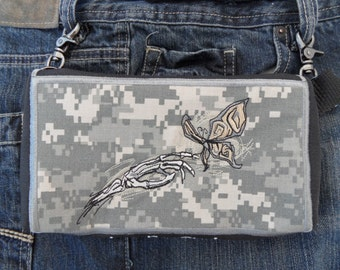 """Hands Free Bag Hip Pouch Embroidered  Belt Bag """"Where Death & Beauty Meet"""" Army Digicam Bikers Hikers Tourist Rider Soldier Gear"""