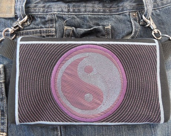"""Belt Bag """"Harmony"""" Yin Yang Hands Free Bag Hip Pouch Embroidered Plum & Charcoal Grey Bikers Hikers Tourist Rider Saints Football Fan"""