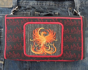 "Phoenix Belt Bag Hands Free Bag Hip Pouch Embroidered ""Out of the Ashes"" Bikers Hikers Concert Goers Tourists Fanny Pack"