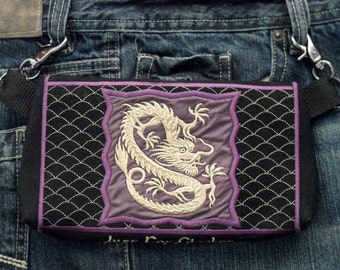 "Hands Free Bag Hip Pouch Embroidered  Belt Bag "" The Dragon "" Concert Gear Bikers Hikers Tourist Rider  Purple and Gold"