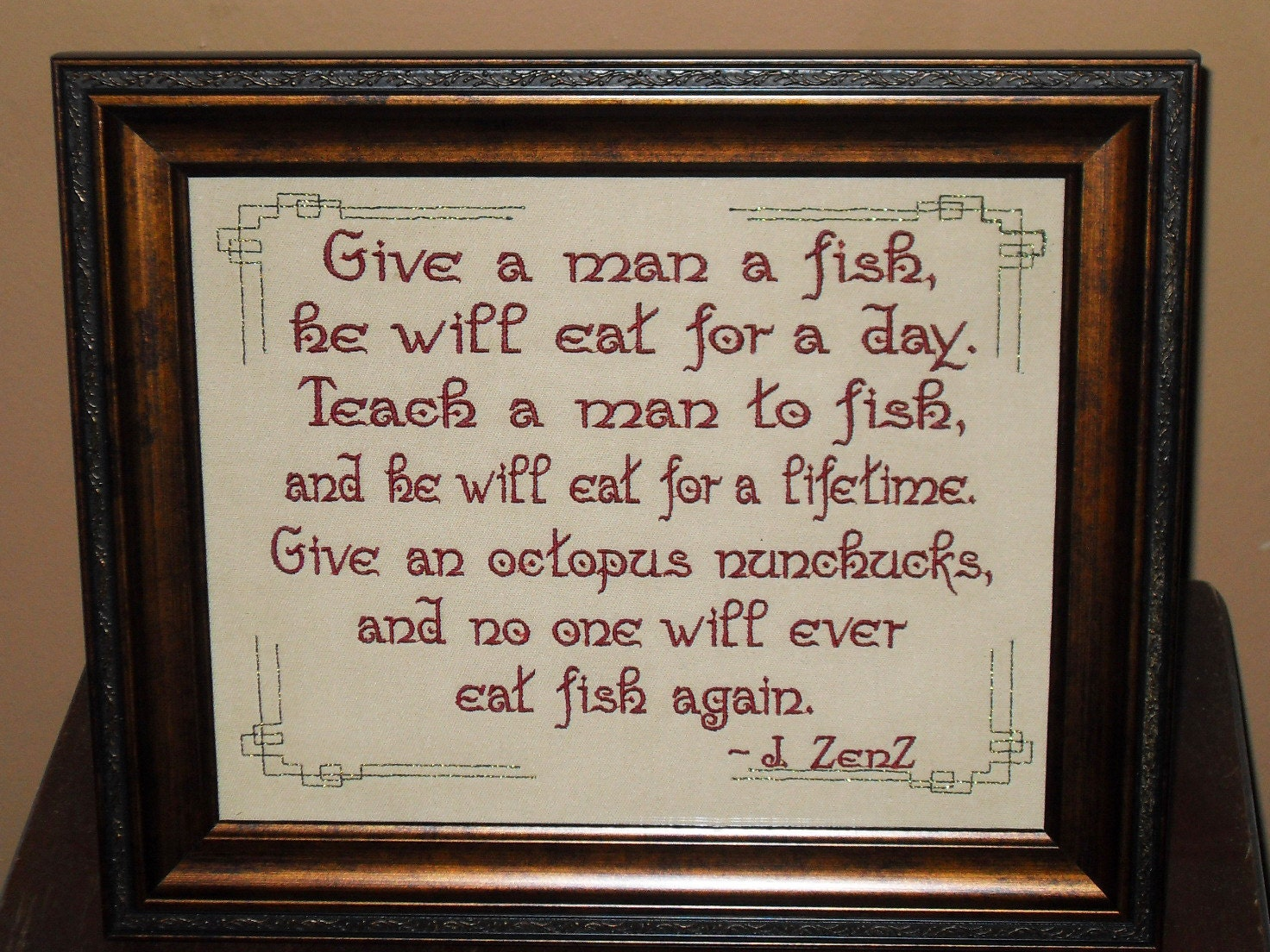 Teach A Man To Fish Funny Quote 8x10 Framed Sign By