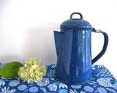 Circa 1920 , French antique blue enamel teapot, granite ware