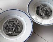 antique french transferware ,the marriage and  the priest's visit, set of 2, black and blue