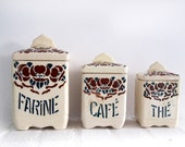 set of 3 french kitchen canisters, french tags,authentic art Nouveau item