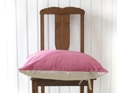 cushion cover in a French vintage metis linen, hand dyed, pink, euro sham 22x22 inches