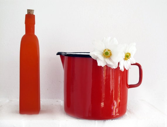 French vintage red enamel pitcher water