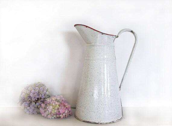 SALE Circa 1920  ,french LARGE enamel jug white and blue sponge, speckled