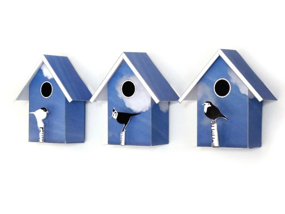3 Small Birdhouses, Printable  DIY kits, Decorative Mini Birdhouses