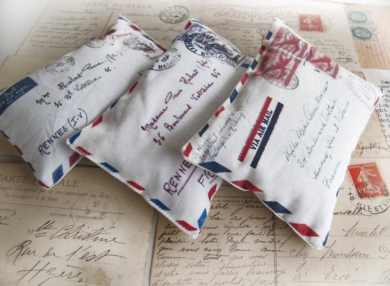 Set of 3 organic French Lavender Sachets , mini pillows  french aeropostale letter, scented sachets , Mini Decorative Pillows