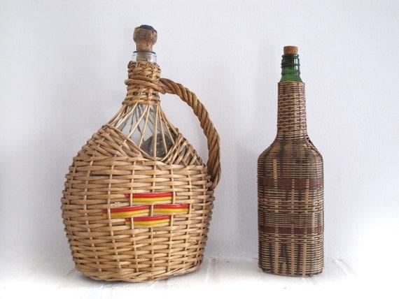 French  wicker wine  bottle ,original  round shaped