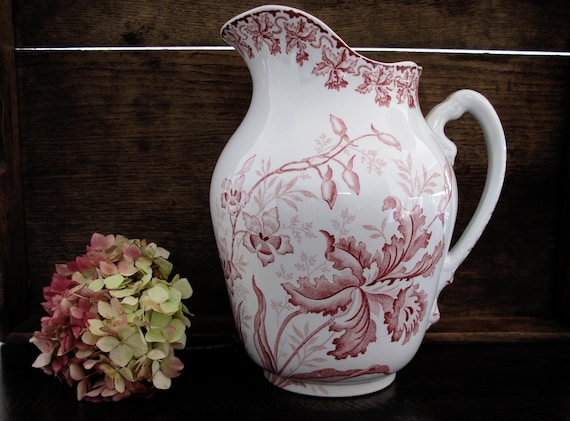 RESERVED Large Transferware antique french pitcher water, SAINT-AMAND, pink floral transfered