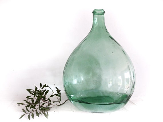 french extra large green glass bottle, demijohn,antique carboy