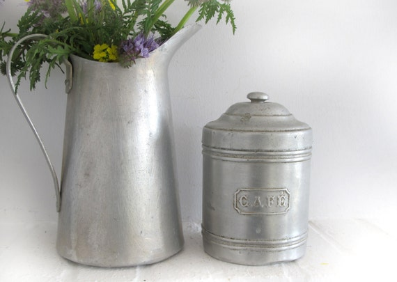 vintage French metal  kitchen canister, kitchenware, coffee metal box