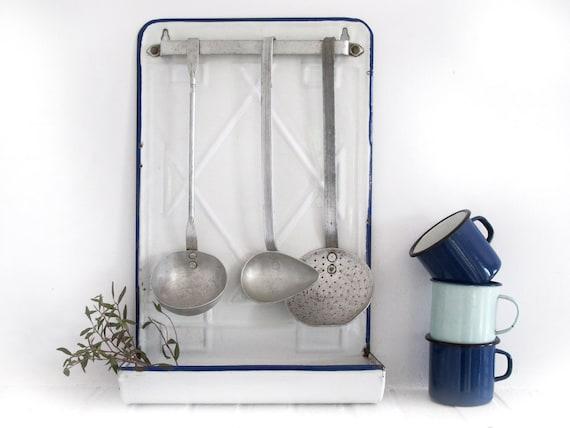 antique French enamel ustensils holder, kitchen set, white and blue enamel, shabby chic white