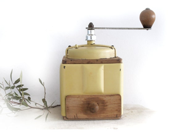 French enamel  and  wood  coffee  grinder  Peugeot - coffee mill-