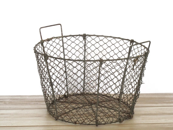 Very Large French industrial oyster basket, patina, wire  basket, laundry or storage