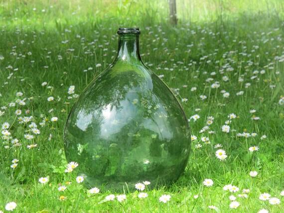 French Extra Large Green Glass Bottle Demijohn Garden Decor