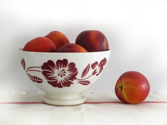 large french  vintage cafe au lait bowl, Digoin, with red stencils flowers, Shabby chic