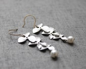 Free shipping- Tripple orchid flower sterling silver earwires -S1048