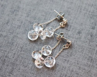 Crystal glass with sterling silver post earring - S1055
