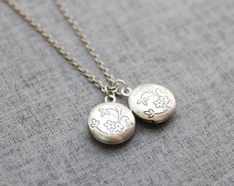 Vintage style cute Floral mini circle Locket - S2067