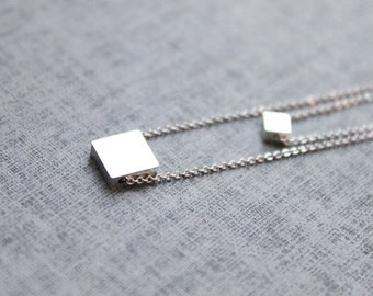 simple square double layers chain Necklace - S2084-1