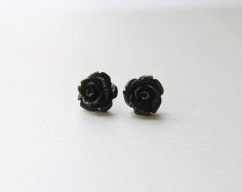 Black ROSE post earring - S1108