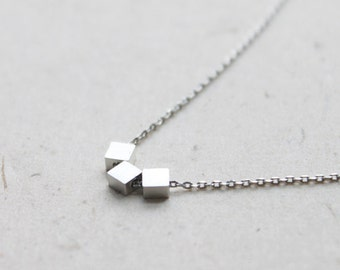 Simple three square Necklace - S2141-1