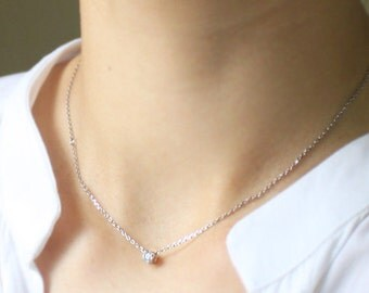 Tiny crystal charm Necklace - S2174-1
