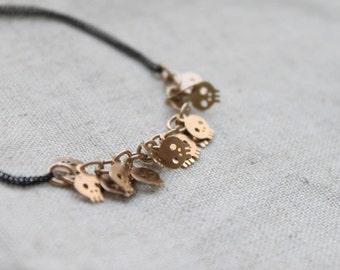 Cute Skull chain with Black chain bracelet - S3193