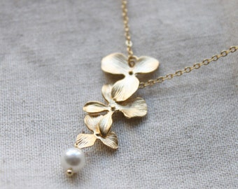 Orchid flowers and pearl Necklace - S2033-2