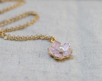Dainty pink flower charm Necklace - S2203-1