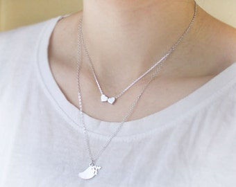 Lovely heart & bird pendant double layers chain Necklace - S2251-1