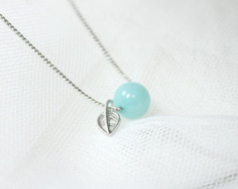 Cute sky blue stone with tiny leaf Necklace - S2259-1