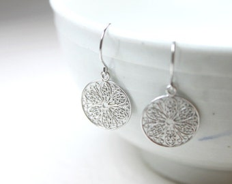 Floral filigree round drops sterling silver earwires - S1263