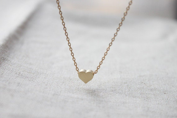 Cute tiny gold Heart charm Necklace - S2208-1