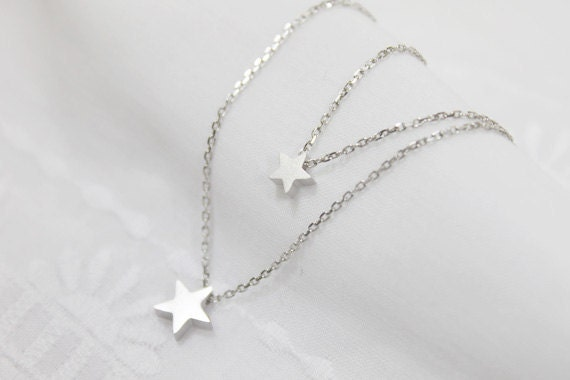 simple Two star double layers chain Necklace - S2227-1
