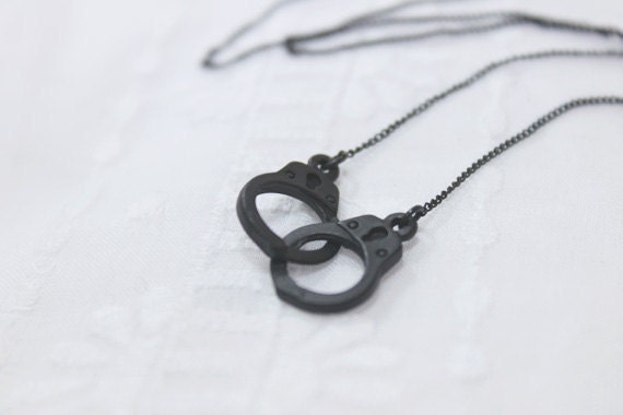 Handcuff with Simple Black chain Necklace - S2234
