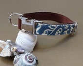 "On the Town Collar - ""Blue Denim Scroll"" - salvaged fabric, handmade"