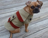 "Charlie's Sunday Coat - ""Houndstooth Check"" - salvaged fabric, handmade dog coat"