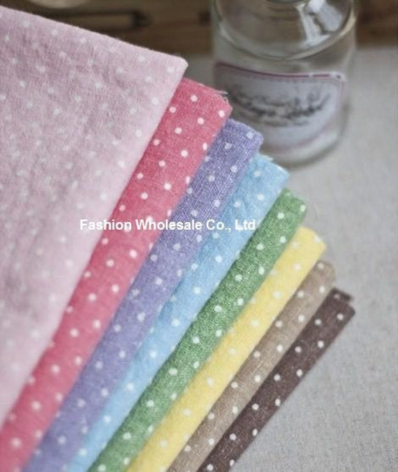 SALE - Set of 8 Japanese Linen Cotton Blended Dots Fabric