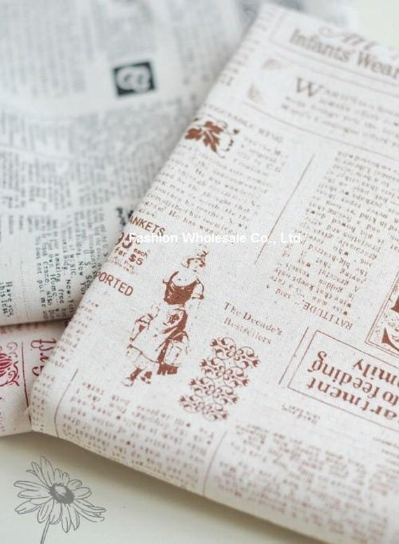 Japanese Linen Cotton Blended Fabric - Newspaper of Great Britain, Coffee