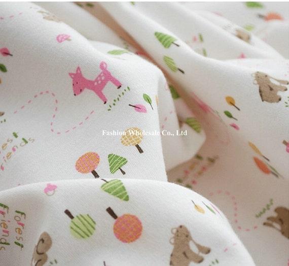 Half Yard - Kawaii Baby Knit Cotton Fabric - Sweet Pink Deer