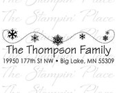 Custom Address Stamp - Snowflake Swirl Address PR436