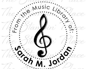 Personalized Custom Stamp - Music Library Circle PS174