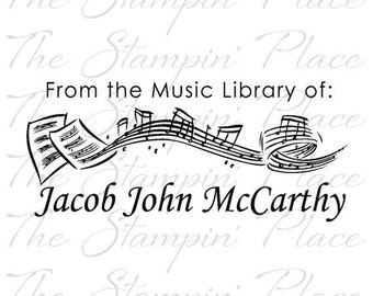 Personalized Custom Stamp - Music Library Notes PS173