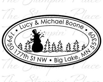 Custom Address Stamp - Snowman Scene Oval Address PR419